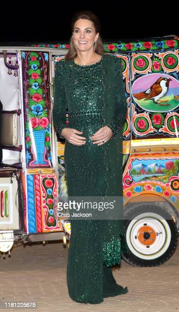 Catherine Duchess of Cambridge arrives by Tuk Tuk with Prince William Duke of Cambridge as they attend a special reception hosted by the British High...