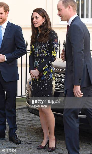 Catherine, Duchess of Cambridge arrives for a briefing to announce plans for Heads Together ahead of the 2017 Virgin Money London Marathon at ICA on...