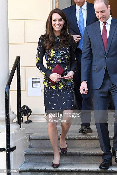 Catherine Duchess of Cambridge arrives for a briefing to announce plans for Heads Together ahead of the 2017 Virgin Money London Marathon at ICA on...