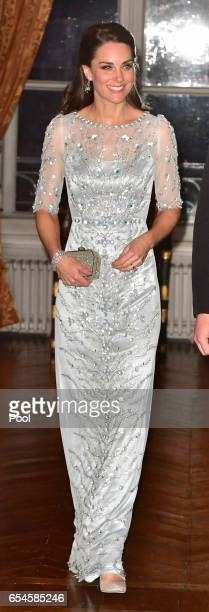 Catherine, Duchess of Cambridge arrives for a dinner hosted by Her Majesty's Ambassador to France, Edward Llewellyn, at the British Embassy in Paris,...