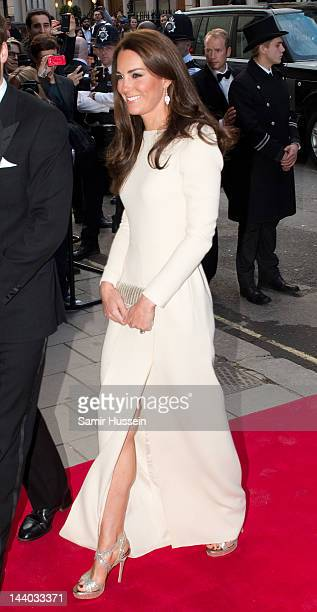 Catherine Duchess of Cambridge arrives for a dinner hosted by The Thirty Club at Claridges on May 8 2012 in London England