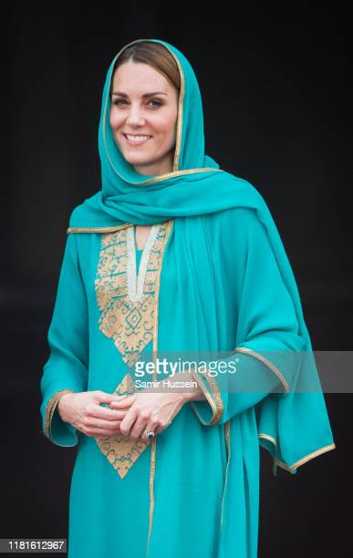 Catherine, Duchess of Cambridge arrives for a Interfaith Meeting at Badshahi Mosque on October 17, 2019 in Lahore, Pakistan. Their Royal Highnesses...