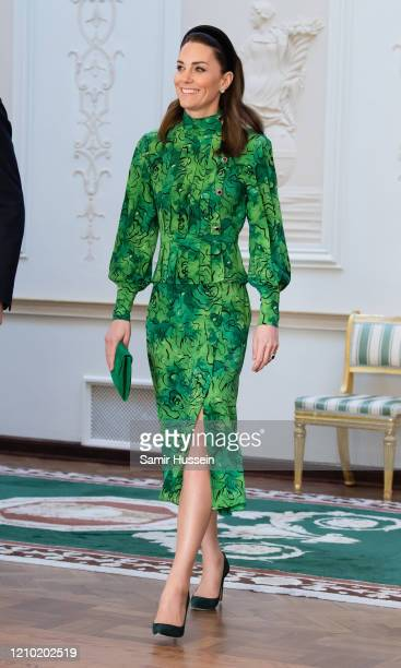 Catherine, Duchess of Cambridge arrives for a meeting with the President of Ireland at Áras an Uachtaráin on March 03, 2020 in Dublin, Ireland. The...