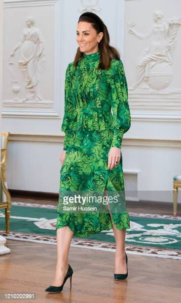 Catherine Duchess of Cambridge arrives for a meeting with the President of Ireland at Áras an Uachtaráin on March 03 2020 in Dublin Ireland The Duke...