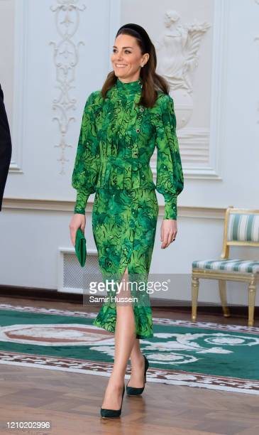 Catherine, Duchess of Cambridge arrives for a meeting with the President of Ireland at Áras an Uachtaráin on March 03, 2020 in Dublin, Ireland. The...