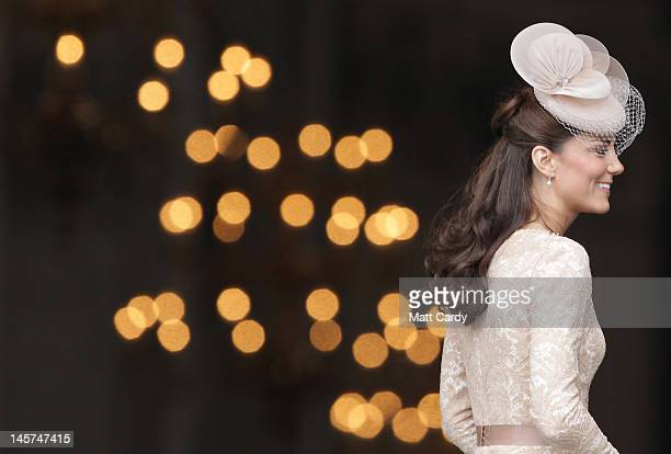 Catherine, Duchess of Cambridge arrives for a Service Of Thanksgiving at St Paul's Cathedral on June 5, 2012 in London, England. For only the second...
