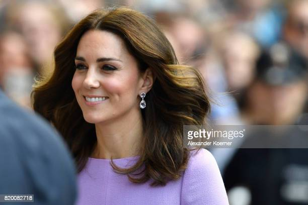 Catherine Duchess of Cambridge arrives for a visit of the Maritime Museum on the third and final day of their visit to Germany on July 21 2017 in...