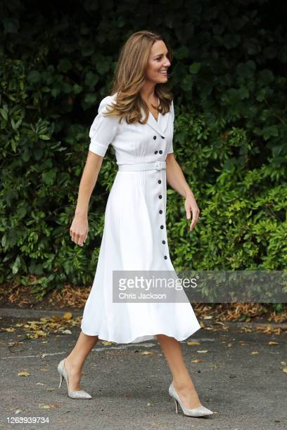 Catherine, Duchess of Cambridge arrives for a visit to Baby Basic UK & Baby Basics Sheffield on August 04, 2020 in Sheffield, England. Baby Basics is...