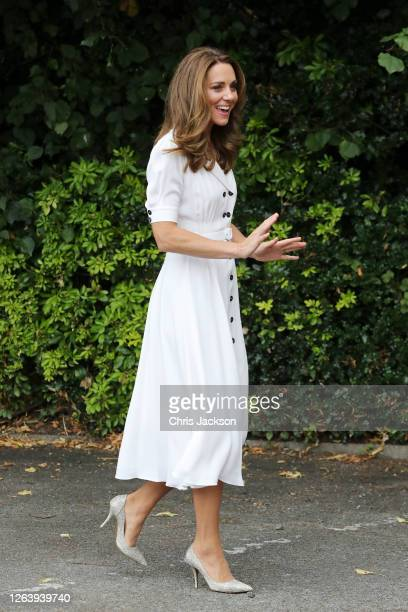 Catherine Duchess of Cambridge arrives for a visit to Baby Basic UK Baby Basics Sheffield on August 04 2020 in Sheffield England Baby Basics is a...