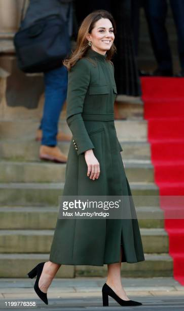 Catherine, Duchess of Cambridge arrives for a visit to City Hall in Bradford's Centenary Square before meeting members of the public during a...