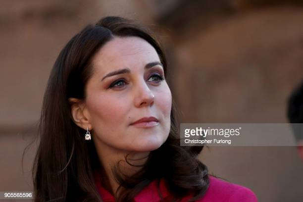 Catherine Duchess of Cambridge arrives for a visit to Coventry Cathedral during their visit to the city on January 16 2018 in Coventry England