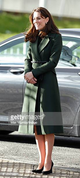 Catherine, Duchess of Cambridge arrives for a visit to Craigmount High School on February 24, 2016 in Edinburgh, Scotland. The Duchess was visiting...
