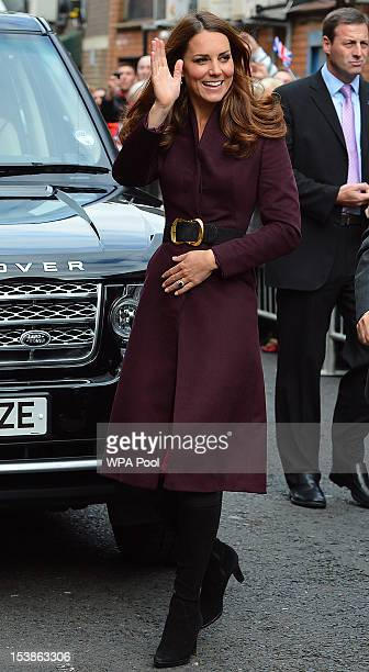 Catherine Duchess of Cambridge arrives for a visit to the CRI Stockton Recovery Service on October 10 2012 in StocktonOnTees England