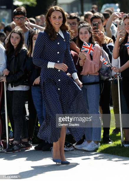 Catherine Duchess of Cambridge arrives for a visit to the DDay exhibition at Bletchley Park on May 14 2019 in Bletchley England The DDay exhibition...