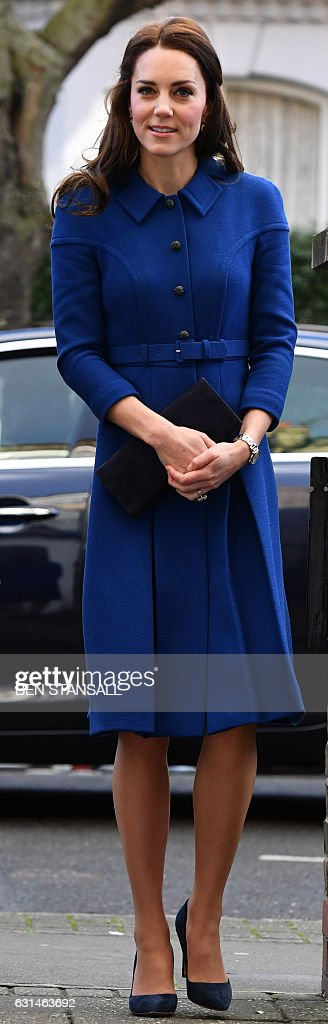 Catherine, Duchess of Cambridge arrives for a visit to the Early Years Parenting Unit (EYPU) of the Anna Freud National Centre for Children and Families in north London on January 11, 2017. The EYPU opened in April 2011 and offers an assessment and treatment programme for groups of parents with personality disorders, and their children under five, who are at risk of being taken into care. / AFP / POOL / BEN