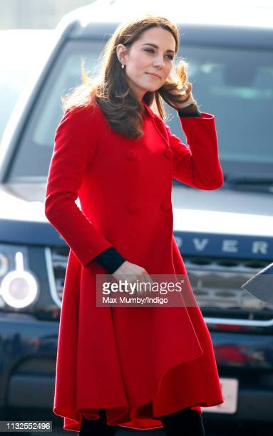 Catherine Duchess of Cambridge arrives for a visit to Windsor Park Stadium home of the Irish Football Association on February 27 2019 in Belfast...