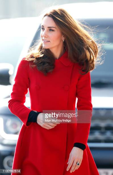 Catherine, Duchess of Cambridge arrives for a visit to Windsor Park Stadium, home of the Irish Football Association on February 27, 2019 in Belfast,...