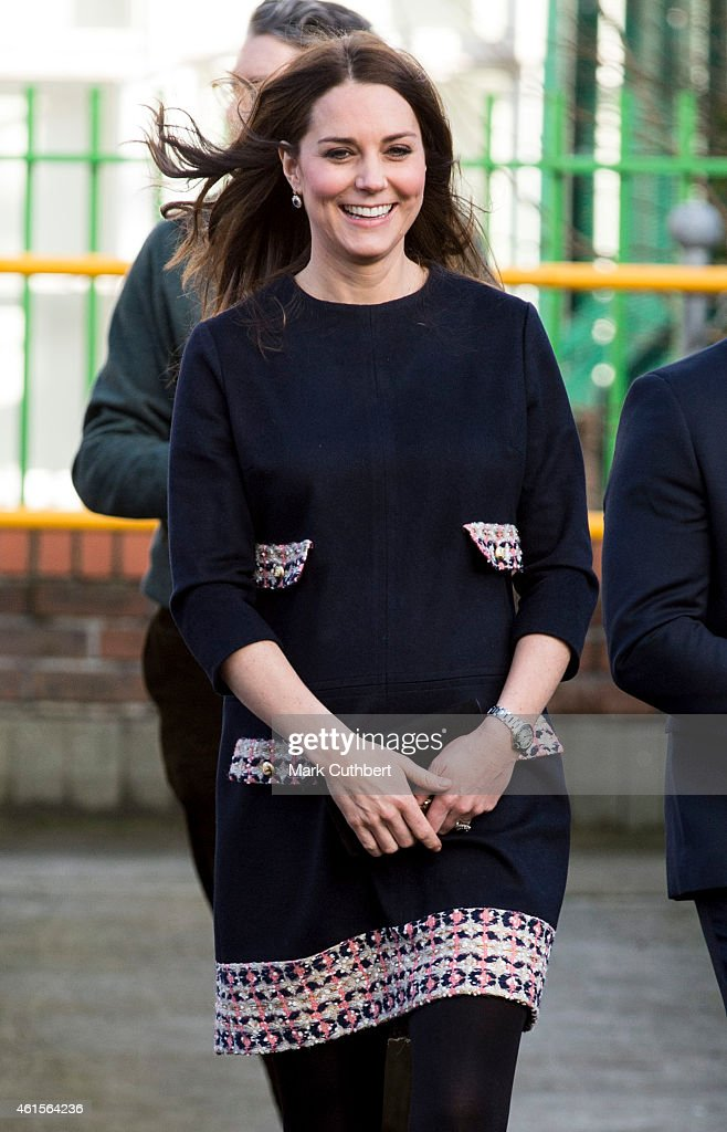 Catherine, Duchess of Cambridge arrives for an official visit at Barlby Primary School on January 15, 2015 in London, England.