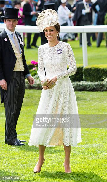 Catherine Duchess of Cambridge arrives for day 2 of Royal Ascot at Ascot Racecourse on June 8 2016 in Ascot England