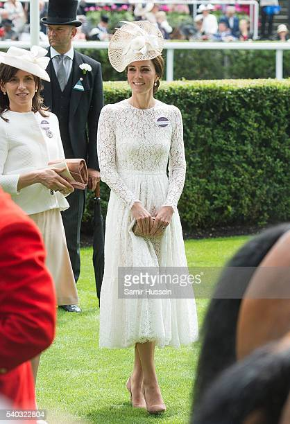 Catherine Duchess of Cambridge arrives for day 2 of Royal Ascot at Ascot Racecourse on June 15 2016 in Ascot England