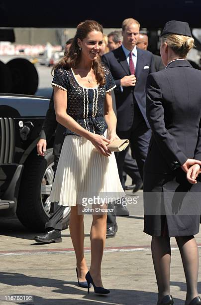 Catherine Duchess of Cambridge arrives for her departure at Los Angeles International Airport on July 10 2011 in Los Angeles California