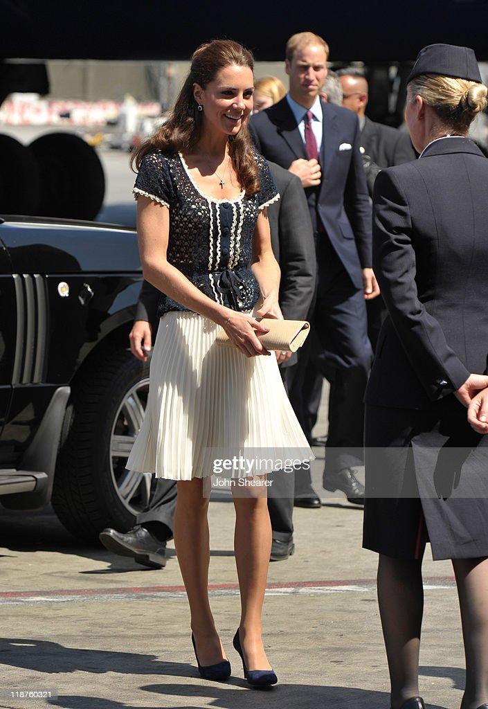 The Duke And Duchess Of Cambridge Depart LAX International Airport : News Photo