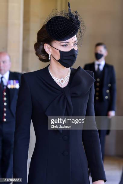 Catherine, Duchess of Cambridge arrives for the funeral of Prince Philip, Duke of Edinburgh at Windsor Castle on April 17, 2021 in Windsor, England....