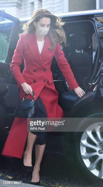 Catherine Duchess of Cambridge arrives for the launch of the Hold Still campaign at Waterloo Station on October 20 2020 in London England