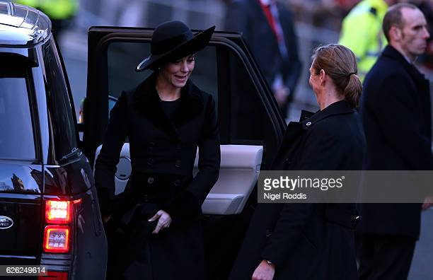Catherine Duchess of Cambridge arrives for the memorial service of The Duke of Westminster at Chester Cathedral on November 28 2016 in Chester...