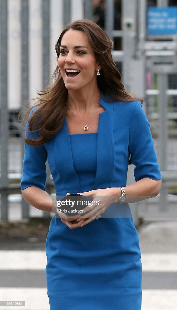 Catherine, Duchess of Cambridge arrives for the opening of the ICAP Art Room at Northolt High School on February 14, 2014 in Ealing, England.