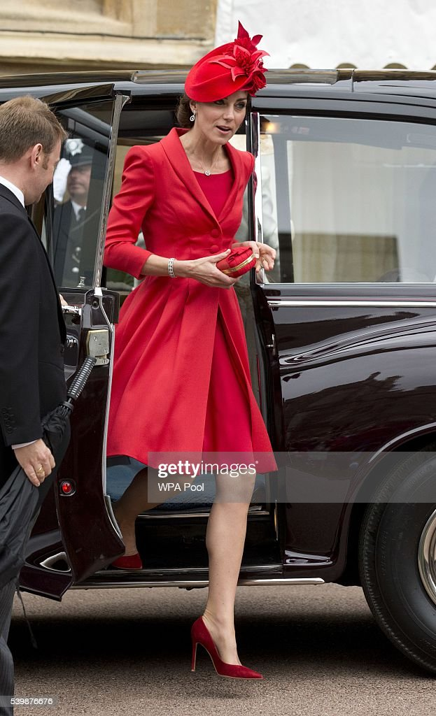 Catherine, Duchess of Cambridge arrives for the Order of The Garter Service at Windsor Castle on June 13, 2016 in Windsor, England. The annual service is held in St George's Chapel at Windsor Castle.