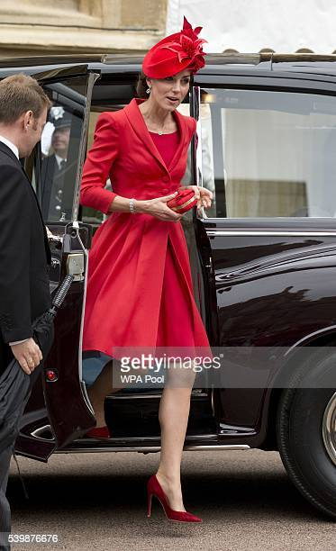 Catherine Duchess of Cambridge arrives for the Order of The Garter Service at Windsor Castle on June 13 2016 in Windsor England The annual service is...