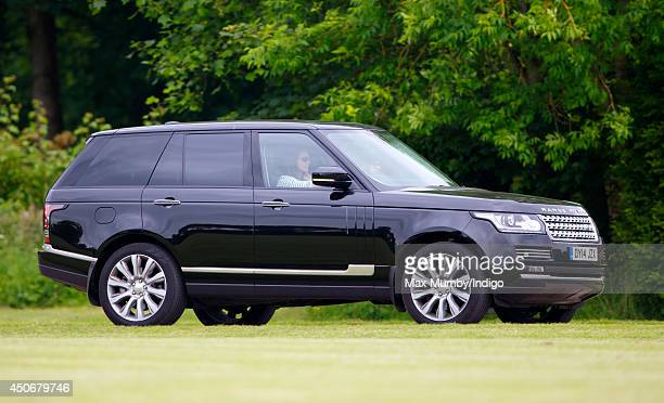Catherine Duchess of Cambridge arrives in her Range Rover car to watch Prince William Duke of Cambridge Prince Harry play in the Jerudong Trophy...