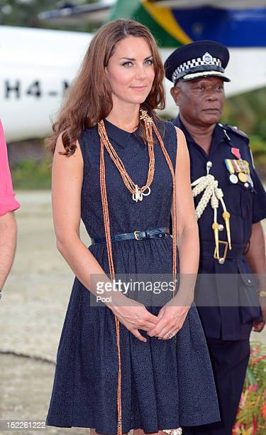 Catherine Duchess of Cambridge arrives in Marau on their way to Tivanipupu on day 7 of their Diamond Jubilee Tour on September 17 2012 in Marau...