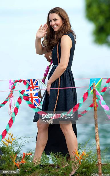 Catherine Duchess of Cambridge arrives in Marau on their way to Tivanipupu on day 7 of their Diamond Jubilee Tour on September 17 2012 in Honiara...
