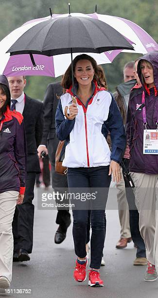 Catherine Duchess of Cambridge arrives in the rain at Eton Dorney for the rowing on day 4 of the London 2012 Paralympic Games at Eton Dorney on...