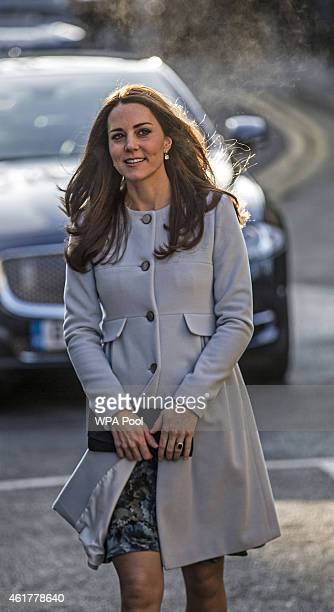 Catherine Duchess of Cambridge arrives to attend a coffee morning at Family Friends in Kensington on January 19 2015 in London England Family Friends...