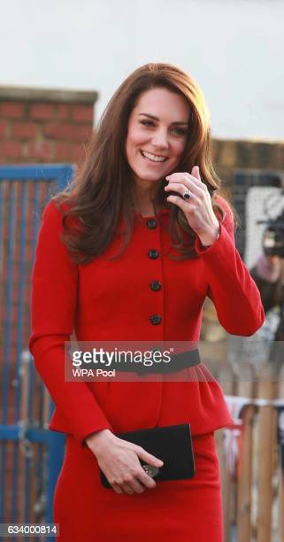 Catherine Duchess of Cambridge arrives to attend the Place2Be Big Assembly With Heads Together for Children's Mental Health Week at Mitchell Brook...