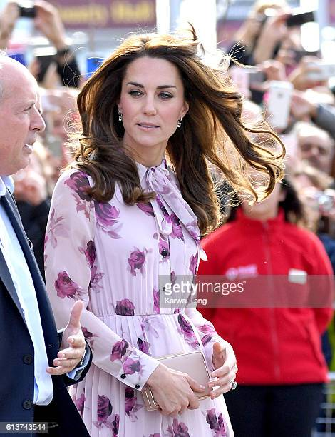 Catherine Duchess of Cambridge arrives to celebrate World Mental Health Day with Heads Together at the London Eye on October 10 2016 in London England