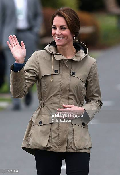 Catherine Duchess of Cambridge arrives to embark the tall ship Pacific Grace in Victoria Harbour on the final day of their Royal Tour of Canada on...