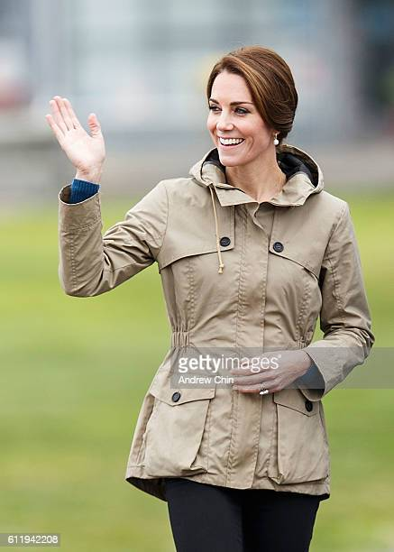 Catherine, Duchess of Cambridge arrives to embark the tall ship Pacific Grace in Victoria Harbour on the final day of their Royal Tour of Canada on...