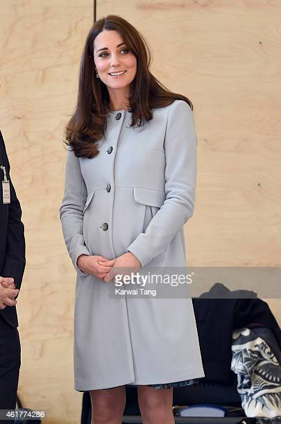 Catherine Duchess of Cambridge arrives to formally open the Kensington Leisure Centre on January 19 2015 in London England