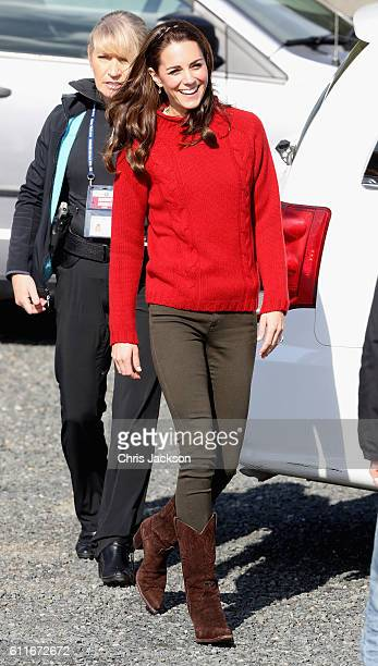 Catherine Duchess of Cambridge arrives to head out on a fishing trip with Skidegate youth centre children during the Royal Tour of Canada on...