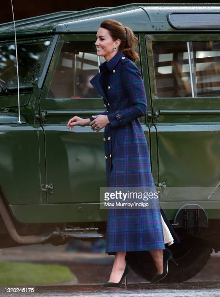 Catherine, Duchess of Cambridge arrives to host a drive-in cinema screening of Disney's 'Cruella' for Scottish NHS workers at The Palace of...