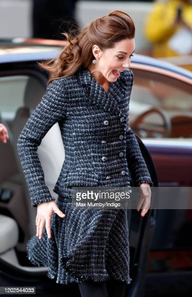 Catherine Duchess of Cambridge arrives to join a workshop run by the National Portrait Gallery's Hospital Programme at Evelina Children's Hospital on...