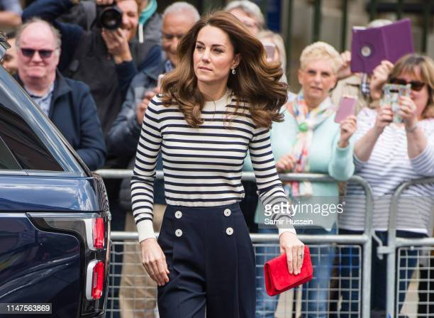 Catherine Duchess of Cambridge arrives to launch the Kings Cup Regatta at Cutty Sark Greenwich London on May 07 2019 in London England