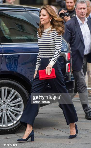 Catherine, Duchess of Cambridge arrives to launch the King;s Cup Regatta at Cutty Sark, Greenwich, London on May 07, 2019 in London, England.