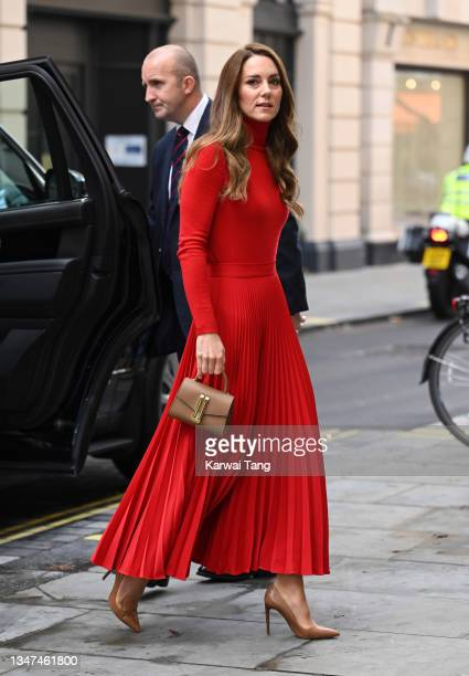"""Catherine, Duchess of Cambridge arrives to make a keynote speech to launch """"Taking Action on Addiction"""" campaign at BAFTA on October 19, 2021 in..."""