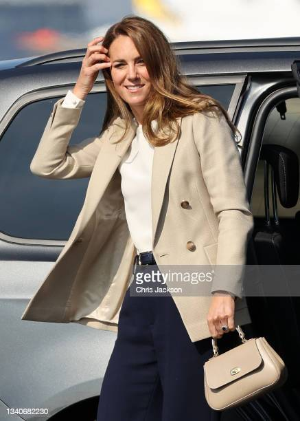 Catherine, Duchess of Cambridge arrives to meets those who supported the UK's evacuation of civilians from Afghanistan at RAF Brize Norton on...