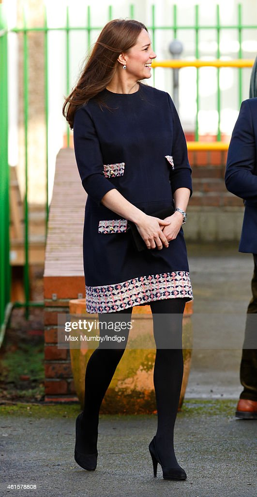 Catherine, Duchess of Cambridge (Royal Patron of The Art Room) arrives to officially name the Clore Art Room at Barlby Primary School on January 15, 2015 in London, England.